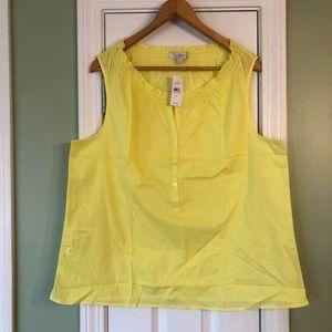 LOFT Neon Yellow Sleeveless Split Neck Blouse